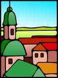 Quaint European village illustration stock images