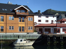 Quaint fishing village in Norway. Small fishing village in Norway, Scandinavia Royalty Free Stock Images