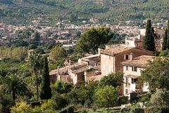 Quaint historic village in the Tramuntana Mountains of Majorca Stock Image
