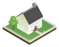 Quaint huis met de isometrische mening van de piketomheining Stock Afbeeldingen
