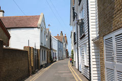 Quaint narrow road at whitstable. Quaint houses in a narrow at whitstable kent Stock Photo