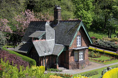 Quaint old cottage in Princes Street gardens. Edinburgh, Scotland royalty free stock image