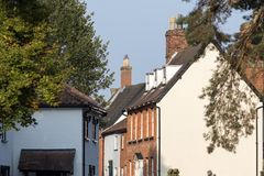 Quaint old English village street houses. Wymondham town Norfolk. Quaint old English village street houses. Typical old British town houses in Wymondham Norfolk royalty free stock photography