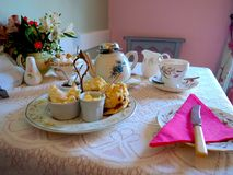 Quaint British Cream Tea Service stock photos