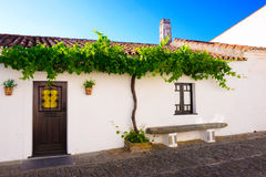 Travel Portugal, Small White House, Monsaraz Quaint  Village. In 1167 Monsaraz village, that stands inside the medieval castle, was conquered to the moors and it Stock Images