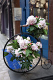 Quaint Street Scene,Shops,Antique Bike,France. An antique unicycle bedecked with flowers on a street in Rouen, France Stock Image