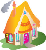 Quaint thatched cottage. Cartoon illustration of a quaint quirky little cottage with a thatched yellow straw roof and smoke coming out of the chimney. A pink Stock Photography