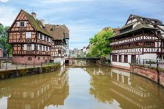Quaint timbered houses of Petite France in Strasbourg, France. F. Ranch traditional houses at Strasbourg, France Royalty Free Stock Photo