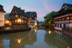 Quaint timbered houses of Petite France in Strasbourg, France. Franch traditional houses at Strasbourg, France. Quaint timbered houses of Petite France in royalty free stock image