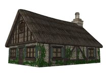 Quaint Tudor cottage. A three-dimensional rendering of a quaint Tudor-style cottage, isolated on white background Stock Photography