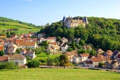 Quaint village with castle, Burgundy, France Royalty Free Stock Photos