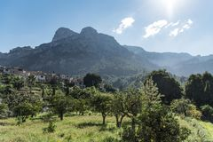 Quaint village in Tramuntana mountains landscape on Majorca. Island, Spain Royalty Free Stock Photo
