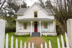 Quaint White Home in Northern California Stock Photo
