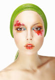 Quaintness & Eccentricity. Styled Woman Face with Theatrical Makeup Stock Photos