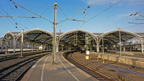 Quays of cologne railway station Stock Photos