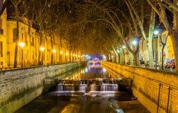 Quais de la Fontaine à Nîmes Images libres de droits