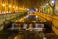 Quais de la Fontaine in Nimes, France Stock Image
