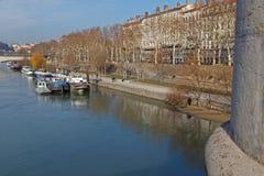 Quais du de Rhône in Lyon Royalty-vrije Stock Afbeeldingen