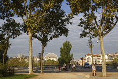 Quais du Rhone in Lyon. LYON, FRANCE, August 31, 2016 : Some main sites of Lyon as Basilica of Fourviere and Opera of Lyon are seen from the Rhone shoreline Royalty Free Stock Photo