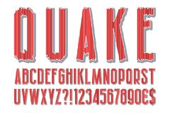 Quake modern stylized alphabet. Letters, numbers, dollar and euro currency signs, exclamation and question marks.  stock illustration