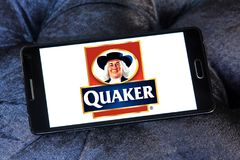 Quaker Oats Company logo. Logo of Quaker Oats Company on  samsung mobile. The Quaker Oats Company, known as Quaker, is an American food conglomerate based in Royalty Free Stock Image