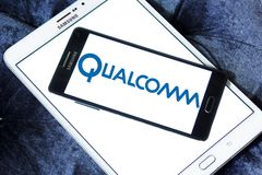 Qualcomm company logo. Logo of Qualcomm company on samsung mobile on samsung tablet . Qualcomm is an American multinational semiconductor and telecommunications Royalty Free Stock Images