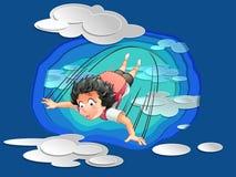 Qualcuno sta saltando da cielo blu con le nuvole nello stile tagliato di carta illustrazione vettoriale