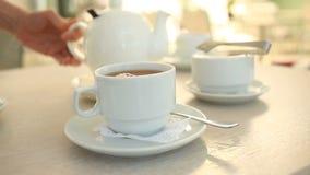 Qualcuno versa il tè da una teiera bianca della porcellana in una tazza bianca stock footage