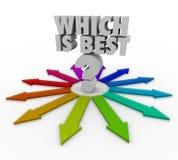 Quale è il la cosa migliore scelga la scelta di opzione di destra del percorso della freccia illustrazione di stock