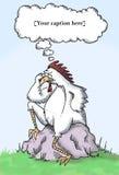 Quale è venuto in primo luogo, il pollo o l'uovo? Fotografie Stock Libere da Diritti