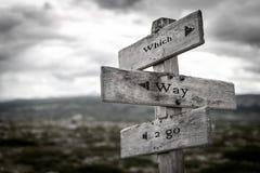 Quale modo andare aria aperta di legno del cartello in natura fotografia stock