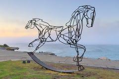 Quale modo in avanti, raddoppia il cavallo a dondolo intestato Fotografia Stock