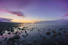 Qualicum strandsolnedgång Royaltyfria Bilder
