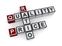qualidade, relação, bloco de palavra do preço ilustração stock