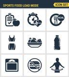Qualidade superior ajustada ícones do ícone da aptidão Dieta saudável das calorias da queimadura do modo de carga do alimento dos Imagem de Stock Royalty Free