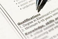 Qualificação do trabalho Imagem de Stock