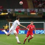 Qualificador 2010 do copo de mundo de Wales v Rússia Foto de Stock