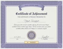 Qualification Certificate Template. Qualification certificate blank template with elegant swirls ornament vector illustration Royalty Free Stock Photo