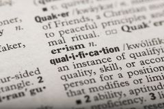 Qualification in a Dictionary stock illustration