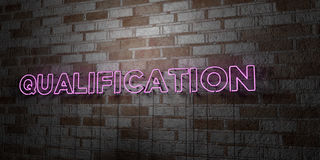QUALIFICATION - Glowing Neon Sign on stonework wall - 3D rendered royalty free stock illustration Royalty Free Stock Image