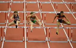 Qualification Race for women`s 60m Hurdles Royalty Free Stock Photo