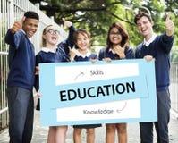 Qualifications de la connaissance d'éducation apprenant le concept Image libre de droits