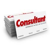 Qualifications de la connaissance de Business Cards Expertise de conseiller engageant le prof. Photo stock