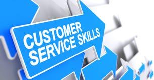 Qualifications de service client - texte sur le curseur bleu 3d Photographie stock libre de droits