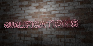 QUALIFICATIONS - Glowing Neon Sign on stonework wall - 3D rendered royalty free stock illustration Royalty Free Stock Photos