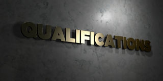 Qualifications - Gold text on black background - 3D rendered royalty free stock picture Stock Photo