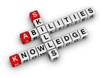 Qualifications, la connaissance, capacités Image stock