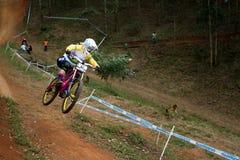 Qualificatore di Tracey Hannah Top alla coppa del Mondo di UCI MTB intorno a 1 Fotografia Stock