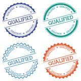 Qualified badge isolated on white background. Flat style round label with text. Circular emblem vector illustration Royalty Free Stock Photography