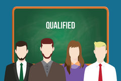 Qualified candidates illustration vector with white text on green board Stock Photography
